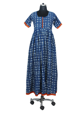 Block Printed Blue Long Dress with Orange border