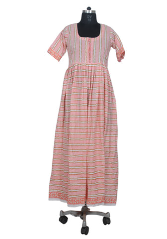 Block Printed Pink Long Dress with White Border