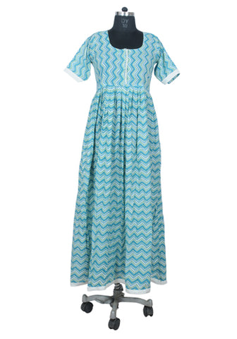 Block Printed Blue Long Dress with White Border