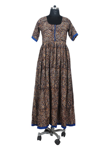 Brown Kalamkari Long Dress