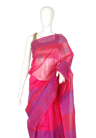 Pink Blockprinted Chanderi Saree Design 1
