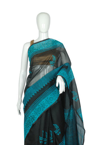 Black Blockprinted Chanderi Saree Design 4