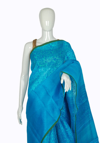 Blue Blockprinted Organza Saree