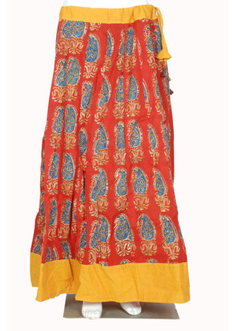 Maroon and Yellow Blockprinted Skirt