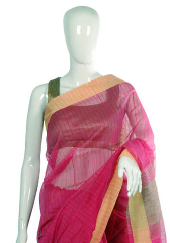 Pink and Yellow Cotton Handloom Saree