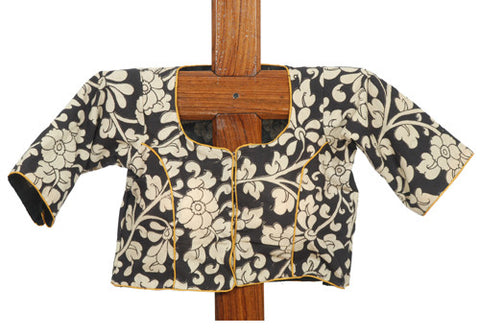 Black ,White and Yellow Kalamkari Blouse