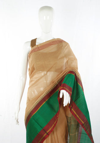 Chettinad Handloom Cotton Saree with Kanchi Silk Border Design 1