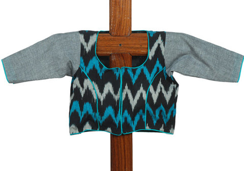 Black Blue and Grey Ikat Blouse