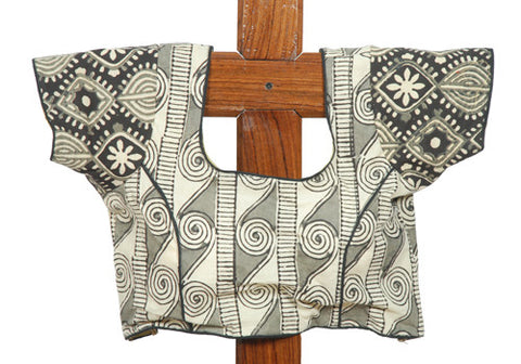 Black and White Blockprinted Blouse Design 2