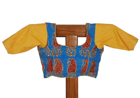 Blue and Yellow Blockprinted Blouse