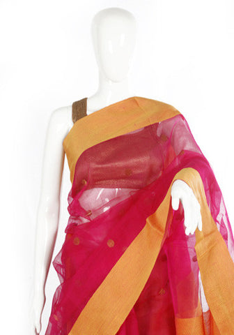 Pink and Yellow Muslin saree with Mulberry border