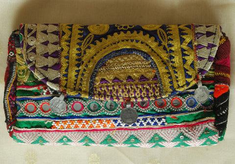 Vintage Kutch Embroidery Clutch With Coins (Design 21)