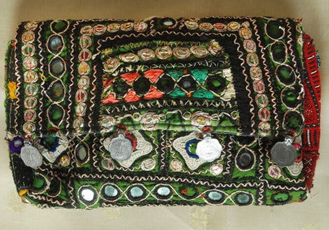 Vintage Kutch Embroidery Clutch With Coins (Design 26)