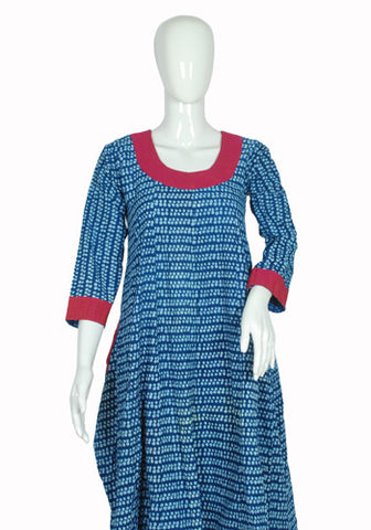 Blue and Pink Blockprinted Anarkali
