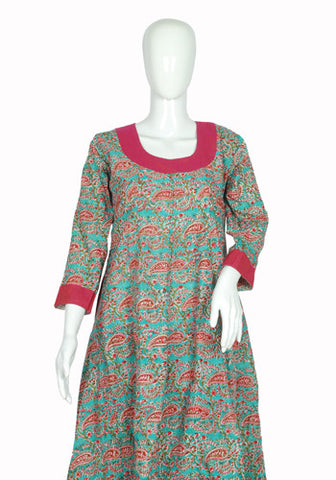 Light Blue and Pink Blockprinted Anarkali