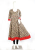 Grey Blockprinted Anarkali with Pink Border