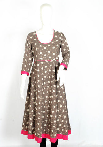 Grey Blockprinted Anarkali with Pink Border Design 2