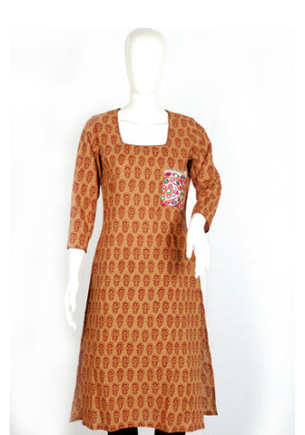 Brown Blockprinted Kurta with Kutch Work Pocket