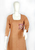 Light Brown Blockprinted Kurta with Kutch Work Pocket