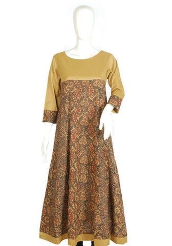 Light Brown and Dark Brown Ajrakh Printed Kurta