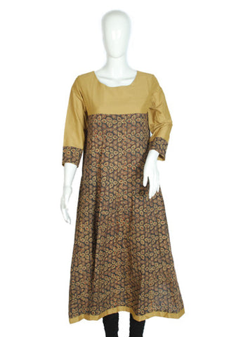 Light Brown and Dark Brown Ajrakh Printed Kurta Design 2