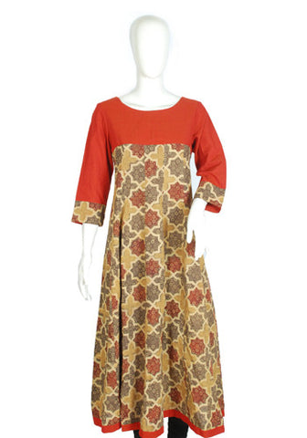 Orange and Brown Ajrakh Printed Kurta