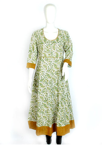 Blockprinted White and Green Anarkali with Green Border