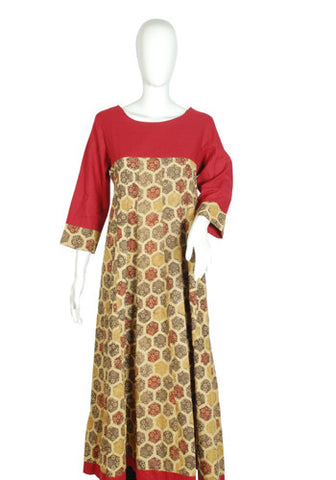 Maroon and Brown Ajrakh Printed Kurta