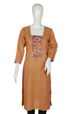 Light Brown Blockprinted Kurta with Kutch Work Yoke