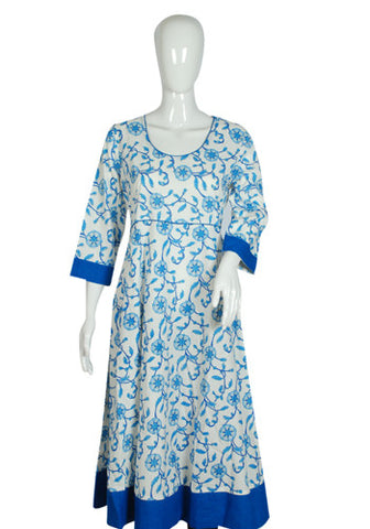 White and Blue Blockprinted Anarkali with Blue Border Design 2