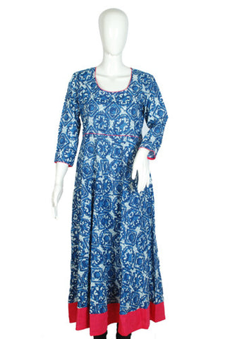 Indigo Blockprinted Anarkali with Pink Border
