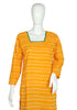 Yellow Ikat Kurta with Grey and Green Border