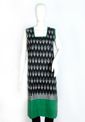 Black Ikat Kurta with Green and Grey Border