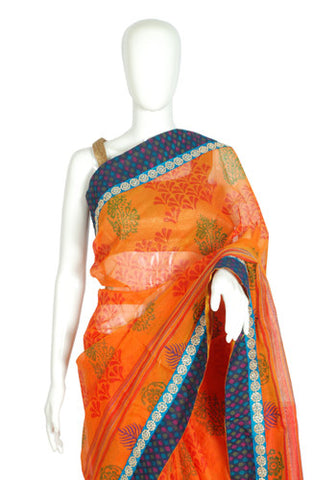 Blockprinted Orange Kota Saree with Black Border