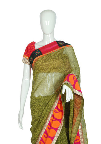 Blockprinted Mehendi Green Kota Saree with Pink and Black Border
