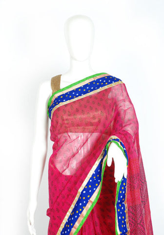 Blockprinted Magenta Kota Saree with Blue Border
