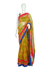 Blockprinted Yellow Kota Saree with Pink and Blue Border Design 2