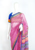 Blockprinted Pink Kota Saree with Blue Border