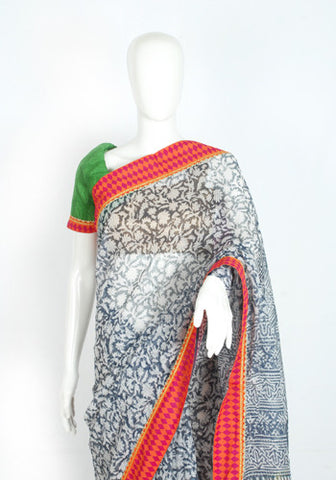 Blockprinted Grey Saree with Pink Border and Green Blouse