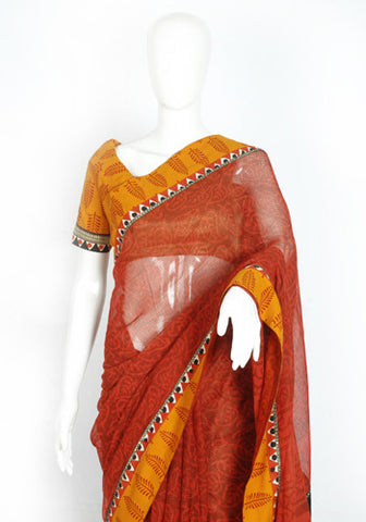 Blockprinted Rust Red Kota Saree with Mustard Yellow Border