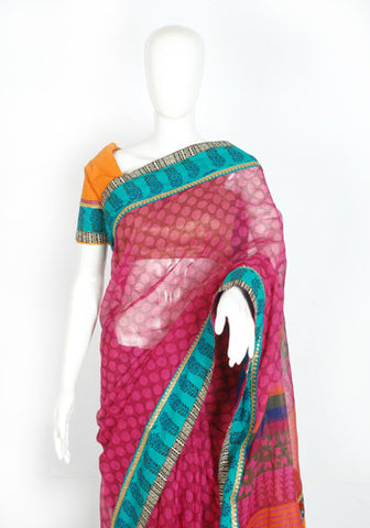 Blockprinted Dark Pink Kota Saree with Blueish Green Border