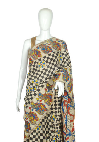 Khadi Silk Printed Kalamkari Saree Design 181