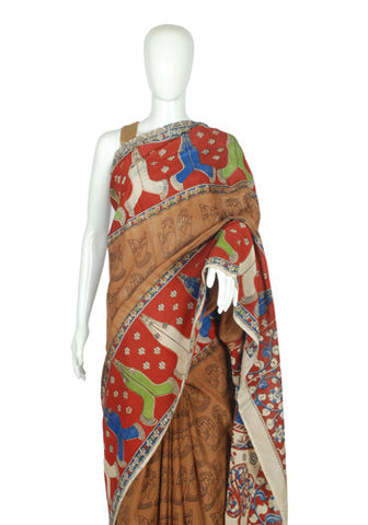 Khadi Silk Printed Kalamkari Saree Design 184