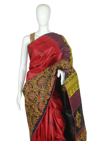 Black and Maroon Blockprinted Tussar Silk Saree