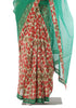 Dark Green and Red Chanderi Printed Kalamkari Saree