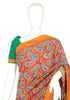 Green and Maroon Blockprinted Cotton Saree
