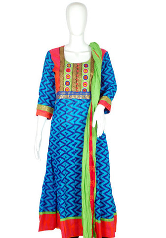 Blue and Pink Blockprinted Anarkali with Dupatta