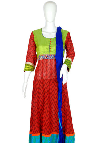 Maroon, Green and Blue Blockprinted Anarkali with Dupatta