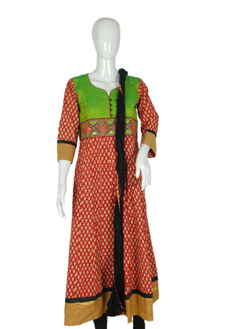 Maroon and Gold Blockprinted Anarkali with Dupatta