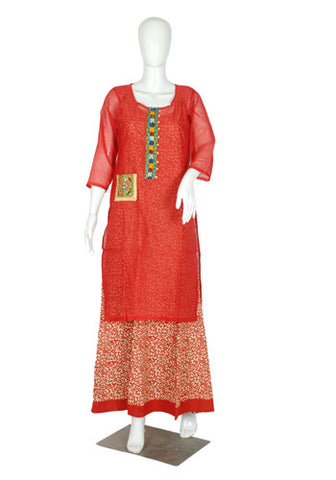 Red and White two piece Anarkali